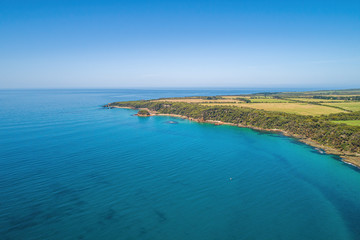 Walkerville South ocean coastline in Victoria, Australia - aerial view