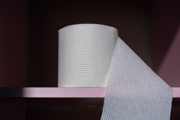 Textured toilet paper roll on pink shelf - closeup with copy space