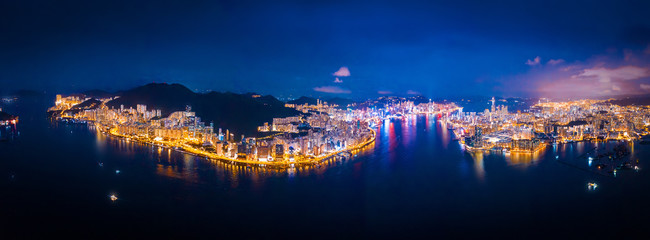 Wall Mural - Amazing Aerial view of Victoria Harbour, focus on the East side of Hong Kong