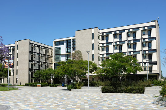 FULLERTON CALIFORNIA - 22 MAY 2020: Student Housing on the Campus of California State University Fullerton, CSUF.