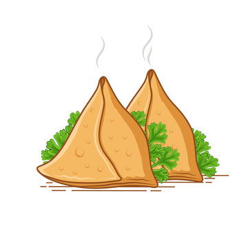 Set of 2 Samosa vector illustration with green coriander leaves