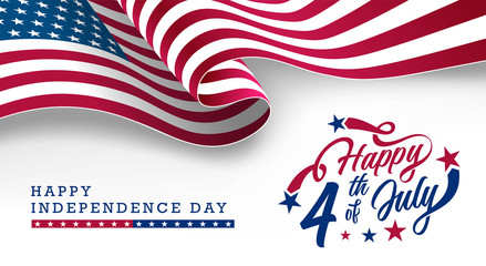 America Independence Day, Happy 4th of July typographic design banner with waving USA National Flag on top. Vector Illustration.
