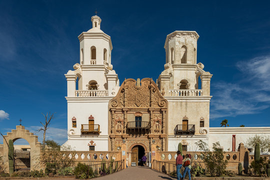 San Xavier del Bac Mission or The White Dove of the Desert located outside of Tucson in Arizona, USA