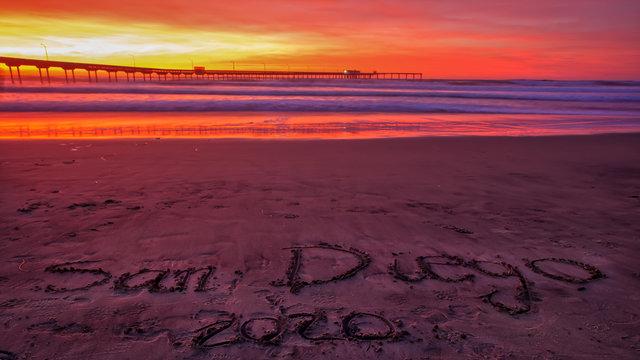 New Year January 2020 sunset in Ocean Beach, San Diego, California, USA