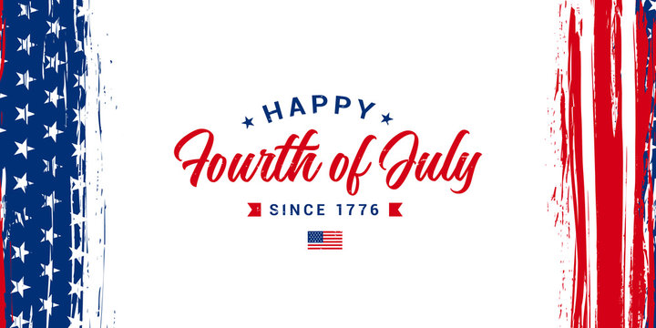 Happy Fourth of July, Since 1776. Independence day greeting design with vertical USA grunge flag on the background. Vector illustration.