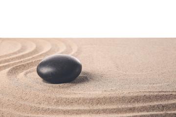 Photo sur Plexiglas Zen pierres a sable Stone on sand with lines against white background. Zen concept