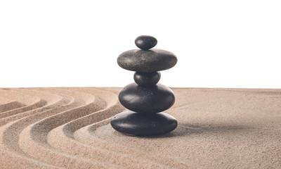 Photo sur Plexiglas Zen pierres a sable Stones on sand with lines against white background. Zen concept