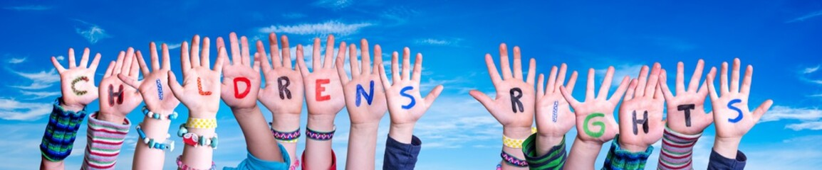 Stores à enrouleur Pays d Asie Children Hands Building Colorful English Word Children Rights. Blue Sky As Background