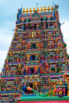 Close view of religious figures of famous Arulmigu Kapaleeswarar Temple in Chennai, India