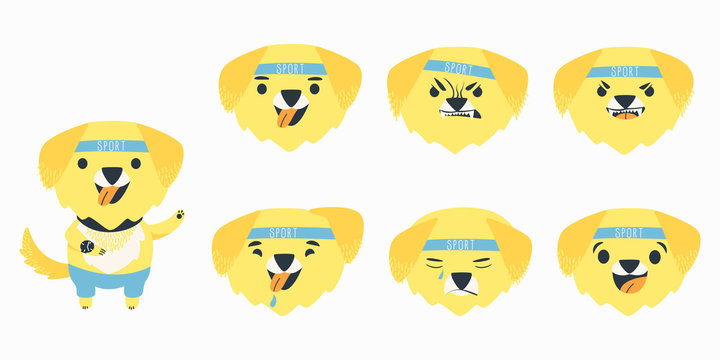 Set cartoon emotions character yellow Labrador retriever. Funny cartoon character. Emotions of a dog breed Labrador happy, angry, kind, cunning, surprise. Flat vector illustration.