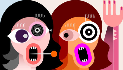 Modern art portrait of Two Crazy Women vector illustration.