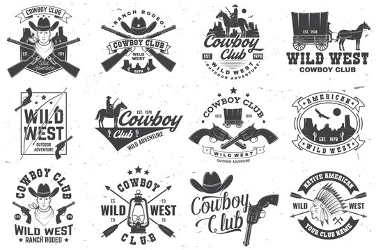 Cowboy club badge. Ranch rodeo. Vector. Concept for shirt, logo, print, stamp, tee with cowboy and shotgun. Vintage typography design with wild west and western rifle silhouette.