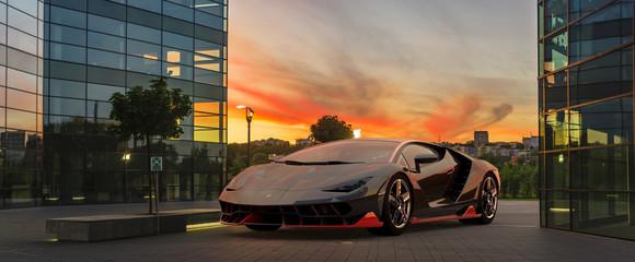 Lamborghini Centenario presenting itself against the backdrop of modern architecture