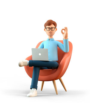 3D illustration of smiling happy man with laptop sitting in armchair and showing ok gesture. Cartoon businessman with okay sign, working in office and using social networks, isolated on white.