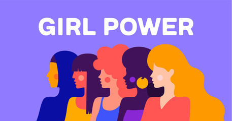 Girl Power. Modern flat character. Simple character of woman lady of different nationalities, races, arab, asian, european, african. Woman character, concept in flat color graphic. Vector Illustration
