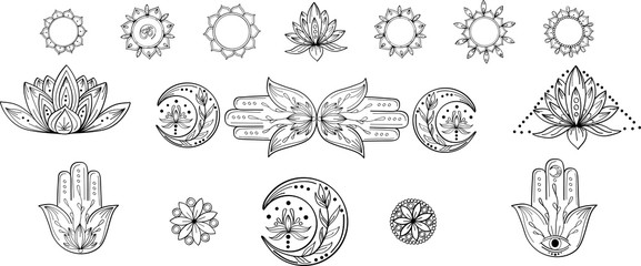 Outline collection of abstract yoga symbol with mandala, hamsa, moon, lotus, om. Indian linear yoga illustration. Vector mandala clipart for card, print, packing, poster, tattoo in yoga style