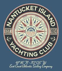 Nantucket yacht club sailing company with nautical compass vintage vector print for boy man t shirt