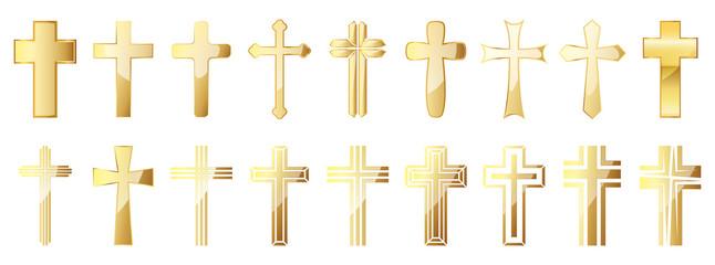 Christian Cross icons set. Gold vector christian cross