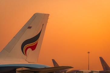 BANGKOK, THAILAND-FEBUARY 20, 2020 : Bangkok airways and Thai airways airlines plane. Passenger plane parked at Suvarnabhumi Airport. Closeup tail of airplane in the morning with orange sunrise sky.