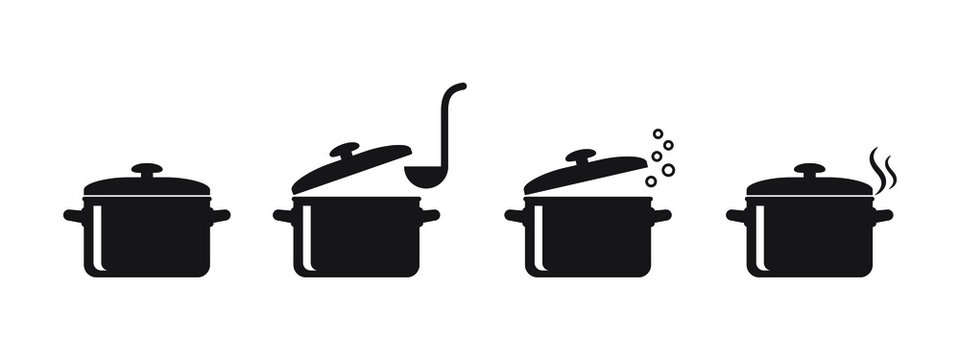 Cooking pan icon, Pot icon vector isolated