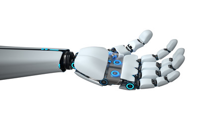 A white hand of the humanid robot on the white background. 3d illustration.