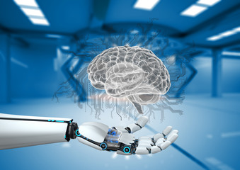 Robot Hand AI Digital Brain