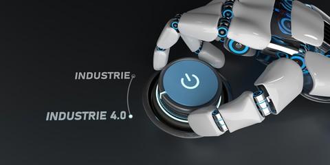 Humanoider Roboter dreht am Drehknopf und stellt die Industrie auf 4.0 um