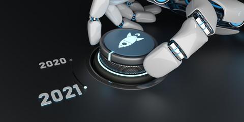 Keuken foto achterwand Wanddecoratie met eigen foto Roboter Hand dreht an einem Drehknopf auf das Jahr 2021