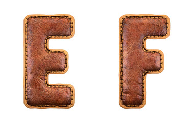 Set of leather letters E, F uppercase. 3D render font with skin texture isolated on white background.