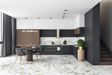 Fotomurales - Modern loft kitchen interior with furniture and marble floor.