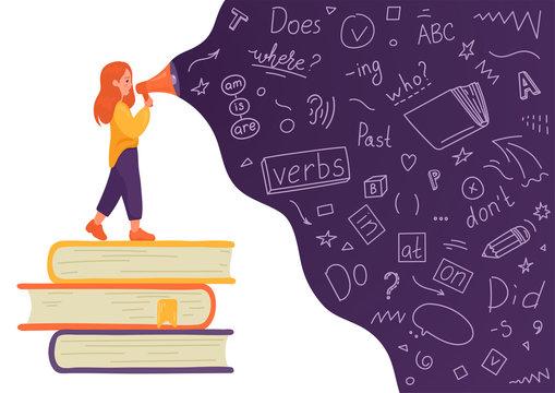 English. Girl on stack of books talking to megaphone with language doodle on white background. Female speaker. Teaching, translating, learning, education concept.