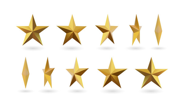 Vector 3d render, isolated gold star on a white background. Golden emblem of victory. Symbol of best and winner. Ranking concept for various places.