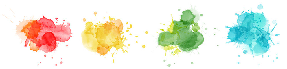 Fototapeta Color splashing hand drawn watercolor bright set obraz