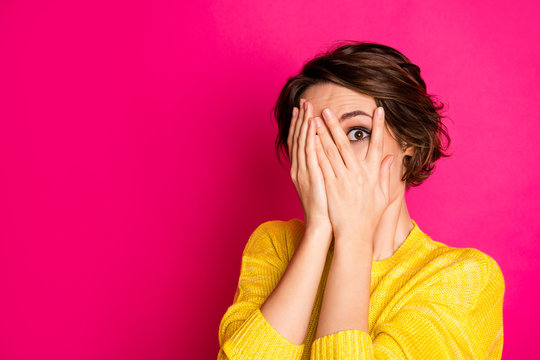 Close-up portrait of her she nice-looking attractive lovely pretty terrified scared girl hiding face in palms hands feeling fear isolated bright vivid shine vibrant pink fuchsia color background