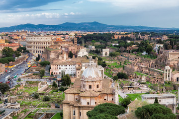 Rome skyline with Colosseum and Roman Forum, Rome, Italy.