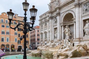 Trevi Fountain (Fontana di Trevi) in raining day in Rome, Italy.