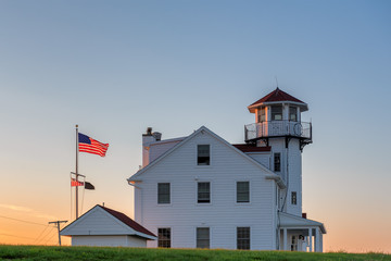 The Point Judith lighthouse near Rose Nulman Park, Rhode Island, USA.