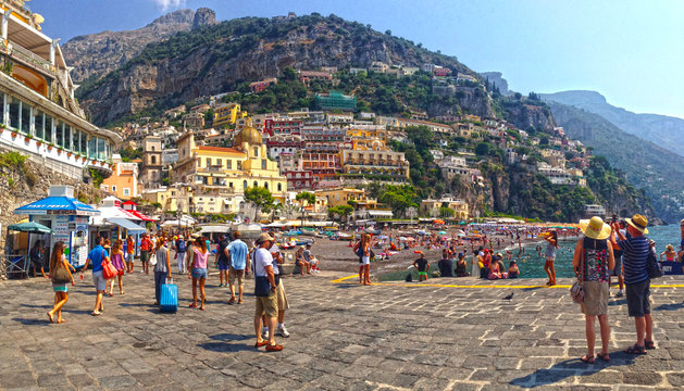 Crowds On Walkway And Beach At Positano