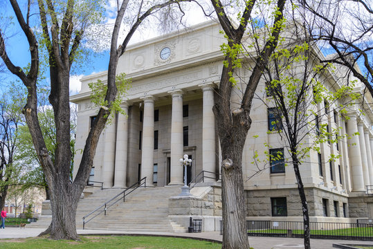 The Yavapai County Courthouse on a bright spring day