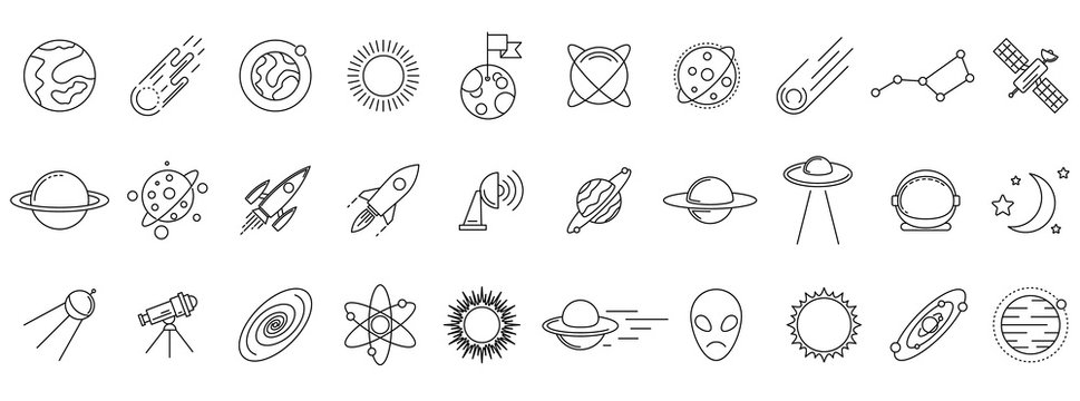Cosmos icons set. Linear cosmos icons isolated. Vector illustration. Set of astronomy or space vector icons