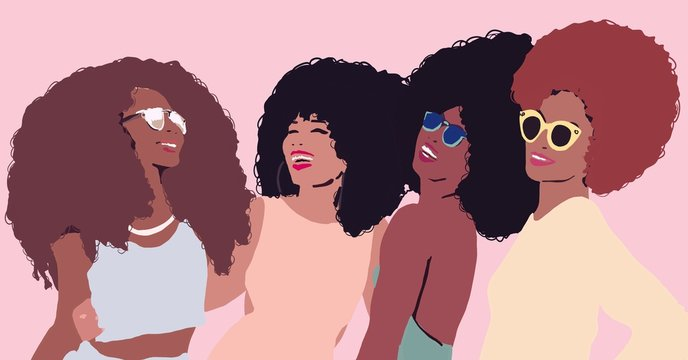 Group of african afro women friends laughing. Black business woman with afro hair. Black lives matter