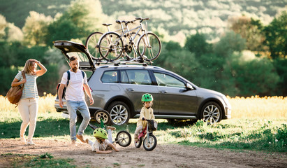 Fototapeta Family with two small children going on cycling trip in countryside.