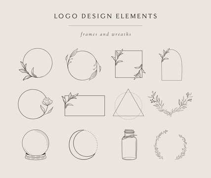 Collection of vector hand drawn logo design elements, geometric floral frames, borders, wreaths, detailed decorative illustrations. Trendy Line drawing, lineart style