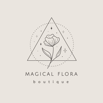 abstract hand drawn flower logo with stars in geometric triangle and round dotted frames. icon, vector illustration in trendy line linear art style. Branding