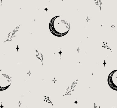 Vector Hand Drawn Line Drawing Doodle Floral Seamless Pattern with Moon, Stars, Plants, Branches, Leaves, berries. Design Elements Illustration. Branding. Swatch