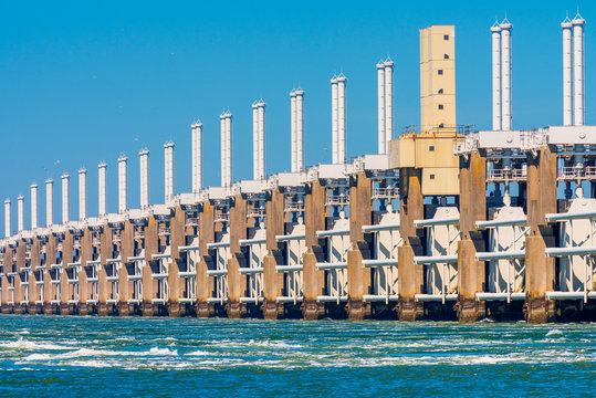 Delta Works Eastern Scheldt storm surge barrier in Zeeland Netherlands