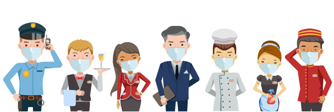 Hotel worker service group Of hotel. Hotel staff mask Waitress, manager, Housekeeping, Hotel luggage, Receptionist, Chef, Security guard,Character set team work . New Normal concept. Vector