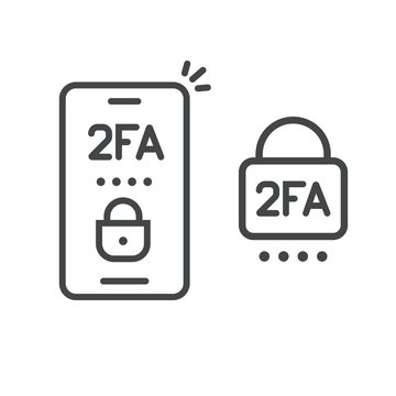 2fa icon line password secure login authentication verification vector outline art or sms push code messages symbol on smartphone mobile phone isolated pictogram, two factor or multi factor cellphone