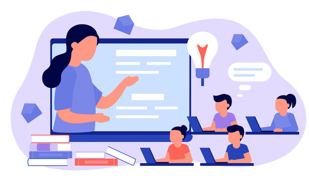 Learn from distance with teacher, online education. Kids boy and girl is sitting on laptop and studying lesson. Child learns remotely. Home school, web e-learning, knowledge concept. Vector flat style