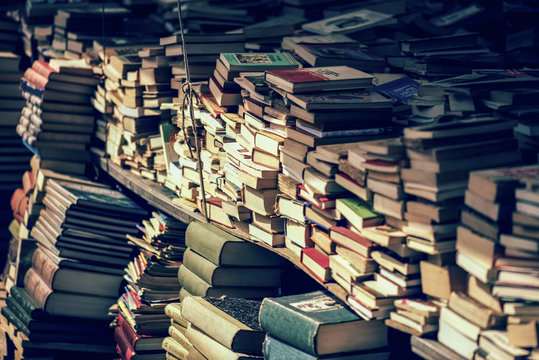 Stack of books at the bookshop